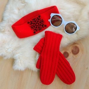Vintage Red 70s 80s Snowflake Ear Warmer Mittens